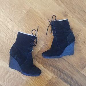 Michael Kors black wedge booties